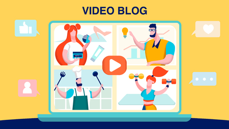 Vlog, Video Blogging Flat Vector Illustration. Bloggers, Streamers, Social Media People Cartoon Characters. Fashion, Business, Culinary and Fitness Online Channels. Banner with Lettering