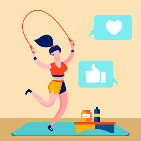 Sport Blog, Fitness Online Channel Illustration. Sportswoman Working Out Cartoon Character. Fitness Trainer Jumping Rope. Social Media Feedback, Likes. Healthy, Active lifestyle. Gymnastic Exercise