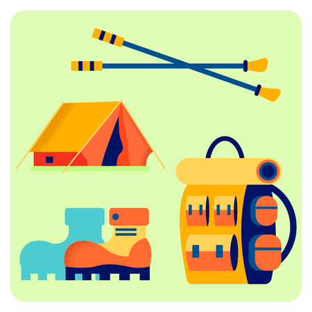 Camping Equipment Flat Vector Illustration Set. Outing Accessories, Trekking Tools. Backpack, Boots, Tent and Hiking Sticks. Tourist, Scout Starter Kit. Holiday Vacation. Adventure, Recreation