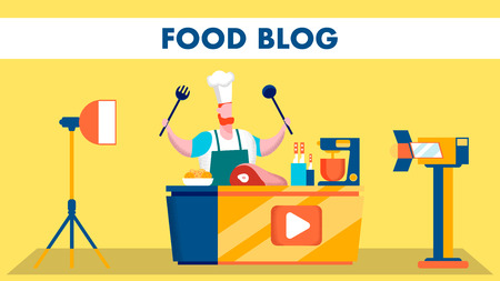 Food Video Blog Shooting Stage Flat Illustration. Chef Cartoon Character. Ingredients, Kitchen Tools, Studio Equipment. Blogger Recording Online Show, Programme. Culinary Banner with Lettering Vektorové ilustrace