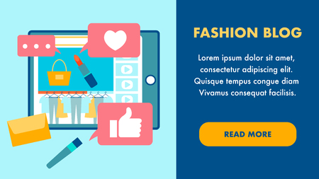 Fashion Blog Flat Landing Page Vector Template. Cosmetics Online Vlog, Internet Channel Webpage. Tablet with Website Interface. Purse, Brush and Likes. Feminine Blog Web Banner Concept Ilustração