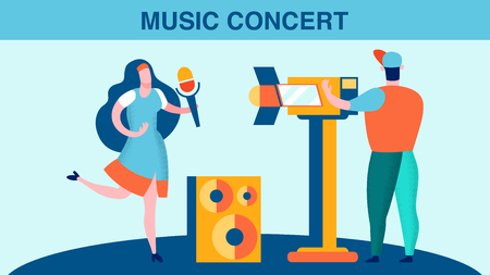 Music Concert Recording Vector Flat Illustration. Female Singer and Operator Cartoon Characters. Shooting Live Stage Performance on Camera. Show Business Industry Banner with Lettering