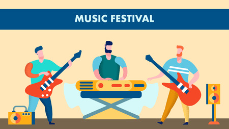 Music Festival, Live Show Flat Vector Illustration. Men with Musical Instruments Cartoon Characters. Guitarists and Keyboard Player. Rock Group, Band Music Show. Banner, Poster with Lettering