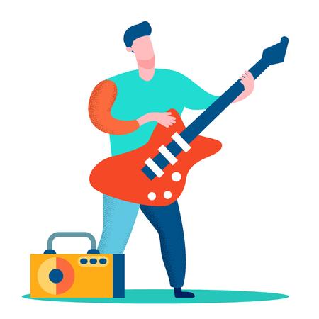 Professioneller Gitarrist flache Farbabbildung. Mann mit E-Gitarren-Cartoon-Charakter. Rockstar, Gitarrist, Bandmitglied, das Solo spielt. Musikshow, Konzert, Bühnenaufführung Vektorgrafik