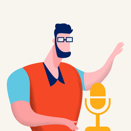 Internet Podcasting Program Vector Illustration. Man in Glasses Talking in Microphone Cartoon Character. Guy Recording Modern Podcast Show. Sound Record Studio Flat Color Design Element