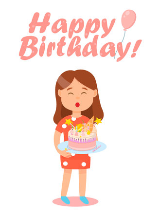 Happy Birthday Celebration Poster Vector Illustration. Cartoon Happy Young Girl with Closed Eyes Blowing out Candles on Cake. Having Fun on Party for teenager. Beautiful Dessert with Candies.