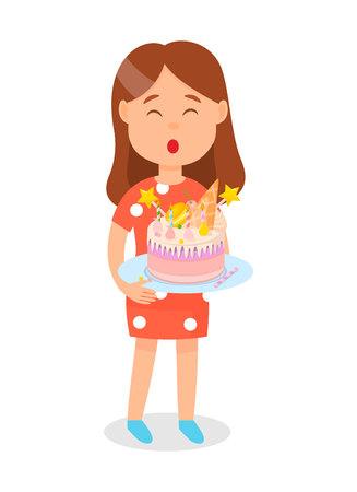 Ragazza con torta di compleanno sul piatto che spegne le candele Poster illustrazione vettoriale. Adolescente che celebra la sua vacanza con un dolce da dessert. Torta con amaretti, cono di cialda, glassa, confetto in cima.