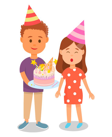 Boy in Birthday Hat Holding Cake for Girl Blowing out Candles Poster Vector Illustration. Celebrating Party with Friends. Presenting Pie for Young Teenager. Dessert with Sweet Decoration.