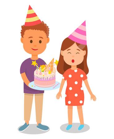 Ragazzo in cappello di compleanno che tiene la torta per la ragazza che spegne le candele Poster illustrazione vettoriale. Festeggiando la festa con gli amici. Presentando la torta per il giovane adolescente. Dessert con decorazione dolce.