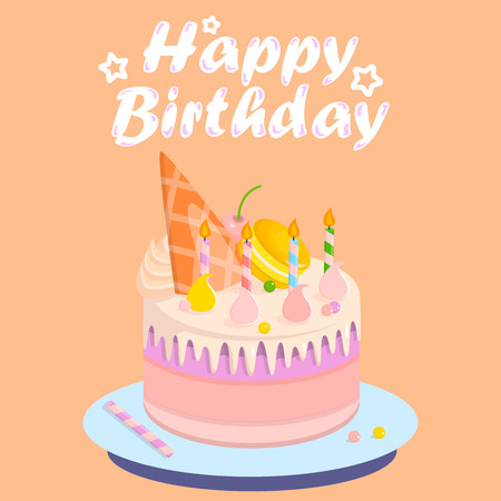 Birthday Cake with Shells of Different Colors Banner Vector Illustration. Fruity Desserts from Bakery Shop or Store with Sweet Decor. Tasty and Beautiful Pink Cake or Pie with Candles on Plate.