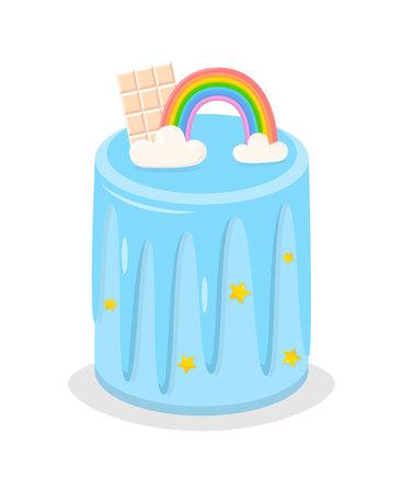 Tęcza tort urodzinowy z chmury, krem glazury i cukru gwiazd plakat ilustracji wektorowych. High Pie wir Bar z białej czekolady na powitanie, zaproszenia, nadruki na ubrania, reklamę dla piekarni. Ilustracje wektorowe