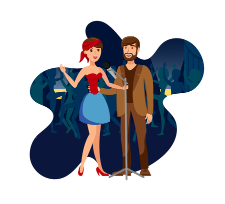 Singers Duet at Night Club Party Flat Illustration. Two Vocalists with Microphone Cartoon Characters. Cheerful Couple Enjoy Karaoke Party. Pop Band Performing on Stage Isolated on White Background Иллюстрация