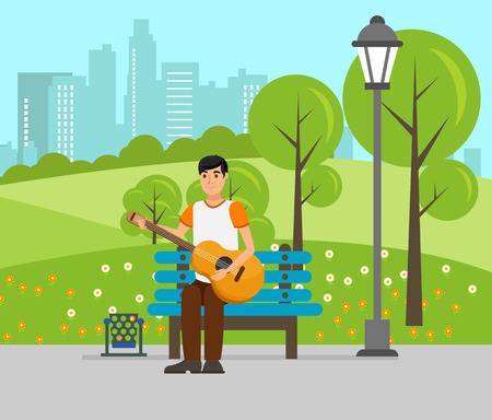 Young Boy Playing Guitar Flat Vector Illustration. Cute Man with Musical Instrument Cartoon Character. Street Musician, Songwriter with Acoustic Guitar Playing in Park. Enjoying Fresh Air with Music