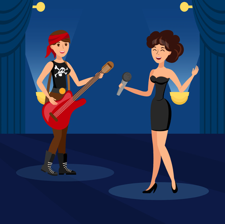 Singing in Duet in Night Club Vector Illustration. Elegant, Pretty Vocalist Girl Performing on Stage. Rockstar Playing Guitar Cartoon Character. Disco, Night Club, Concert Hall Event