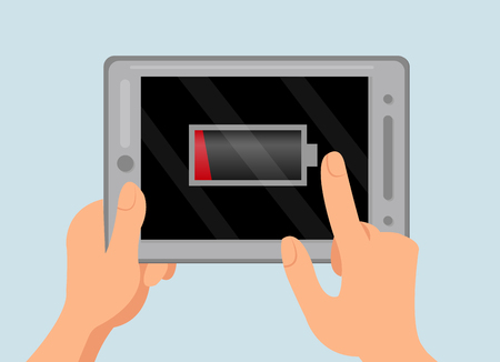 Exhausted Battery Warning Flat Color Illustration. Hands Holding Mobile Gadget. Tablet Showing Empty Charge Notice. Low Energy Level Icon, Symbol on Electronic Device Screen. Modern Technology