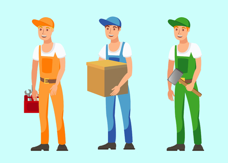 Vocational Workers Flat Vector Illustrations Set. Male Jobs, Professions, Occupations. Cartoon Handyman, Mechanic, Delivery Boy and Unskilled Worker, Builder. Men in Overalls, Uniform Holding Tools