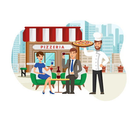 Pizza in Street Cafe Flat Vector Illustration. Happy Cook with Clients Isolated on White Background. Man and Woman Celebrating Anniversary Cartoon Characters. Italian Food Restaurant Concept