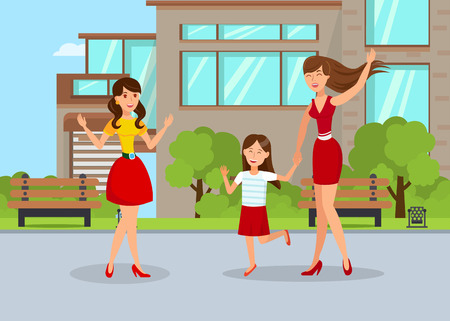 Young Nanny with Girl Flat Vector Illustration. Happy Girlfriends Meeting in Park Cartoon Characters. Mother with Daughter Waving to Friend. Two Sisters Going for Walk. Summer Holidays. Friendship Ilustração