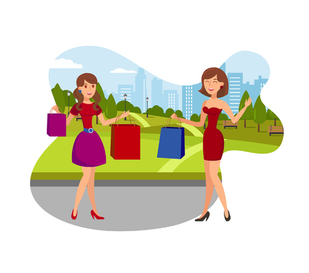 Girls Enjoy Shopping Flat Vector Illustration. Happy Young Women Sharing Shopping Impressions. Cartoon Girlfriends Holding Shopping Bags and Waving Hand. Shopaholic Female Characters