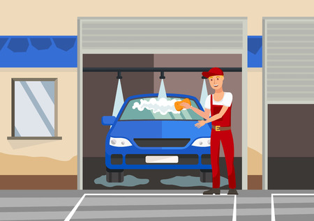 Washing Automobile Flat Vector Color Illustration. Man in Overalls and Peaked cap Cartoon Character. Cleaner, Serviceman Cleaning Vehicle, Sedan. Automobile Care, Maintenance Industry Stock Illustratie