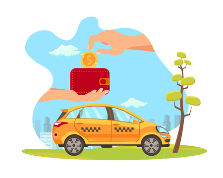 Taxi Service Payment Flat Vector Illustration. Hand Put Coin in Wallet Isolated Design Element. Automobile Rental. Car-Sharing. Banking. Loyalty Program for Clients. Pay for Cab Ride, Carpool