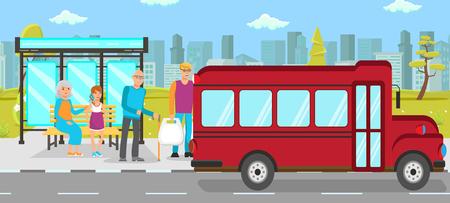 Arrêt de bus Transports publics Vector Illustration plate. Personnes debout sur les personnages de dessins animés de la gare routière. Jeunes et seniors hommes, fille et femme âgée en attente de navette. Passagers manqués bus