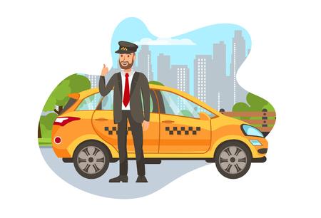 Taksówkarz z samochodu na białym tle postać z kreskówki. Szczęśliwy taksówkarz stojący w pobliżu samochodu, pokazując kciuk do góry ilustracja płaski. Rezerwacja transportu. Szofer w mundurze. Element projektu wynajmu samochodów Ilustracje wektorowe