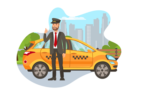 Taxifahrer mit Auto isoliert Cartoon-Figur. Glücklicher Taxifahrer, der in der Nähe des Autos steht und Daumen hoch flache Illustration zeigt. Transportbuchung. Chauffeur in Uniform. Designelement für Autovermietungen Vektorgrafik