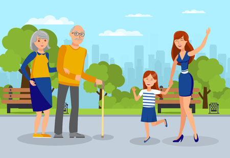 Granddaughters meet Grandparents Flat Illustration. Young Woman with Daughter Waving to Elderly Parents Cartoon Characters. Two Sisters and Senior Couple Walking in Park. Family, Neighbours