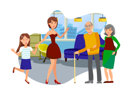 Daughter Visits to Elderly Parents Illustration. Woman with Daughter gives Assisted Living Isolated Cartoon Characters. Relatives Meeting. Granddaughters and Grandparents. Nursery Home Design Element