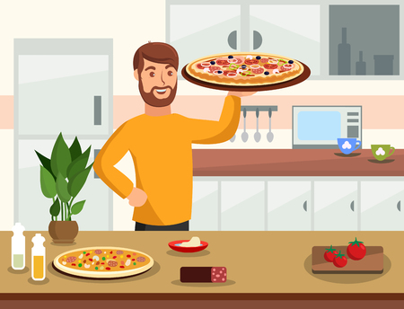 Cooking Flat Vector Illustration. Happy Man Holding Homemade Pizza Cartoon Character. Kitchen Interior. Traditional Italian Food Preparation, Recipe, Ingredients. Tomatoes, Pepperoni. Home Baking