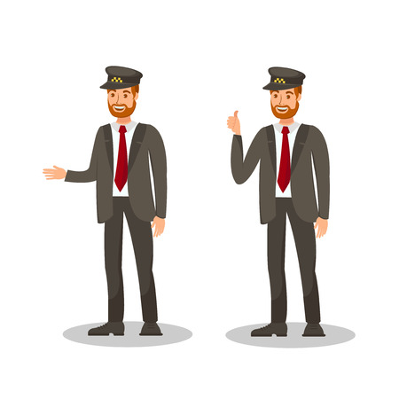 Taxi Chauffeur Flat Vector Illustration. Happy Driver Showing Thumbs up Isolated Cartoon Character. Smiling Cab Driver in Uniform. Automobile Rental, Valet Parking Services Design Element
