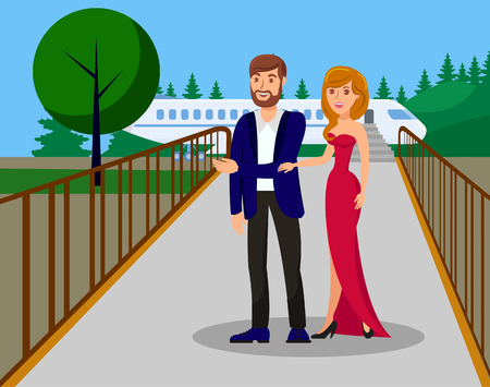 VIP Person Arrival Flat Color Vector Illustration. Man in Suit and Young Woman in Dress Holding Hands Cartoon Characters. Luxury Lifestyle. Successful Celebrity. Romantic Relationship