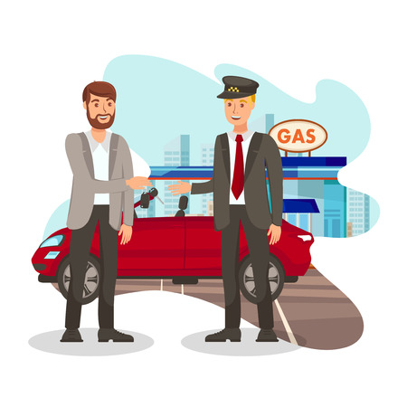 Happy Customer at Gas Station Flat Illustration. Valet Parking. Taxi Service. Young Man Gives Keys to Chauffeur Cartoon Characters. Automobile Maintenance. Vehicle Rent. Happy Driver and Passenger