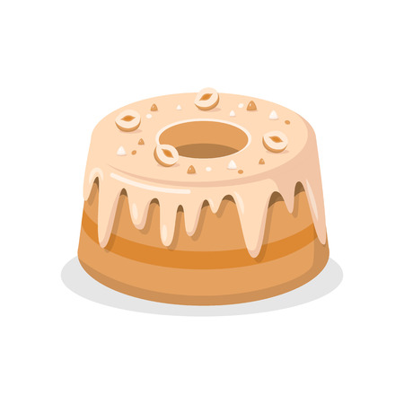 Delicious bundt Cake with Nuts Vector Illustration. Sweet Dessert Color Cartoon Drawing. Tasty Pudding with Glaze. Pastry Shop, Confectionery, Buffet, Bakery Isolated Design element