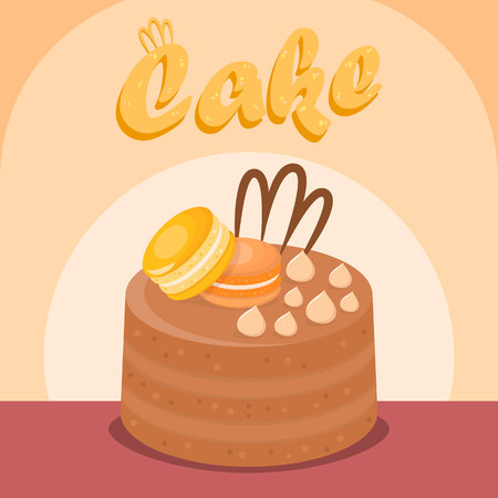 Multi Layer Cake Flat Vector Social media Banner. Tasty Dessert Cartoon Illustration with Lettering. Delicious Baking with Macaroons. Confectionery, Pastry Shop, Bakery Color Poster Template