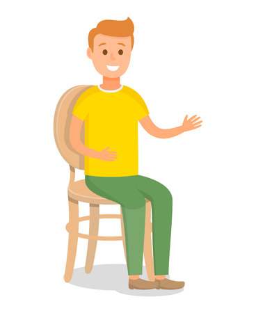 Redhead Model Flat Vector Character Illustration. Young Caucasian Man Sitting on Chair with Backrest. Resting Person Color Cartoon Drawing. Smiling Boy in Casual clothes. Isolated Design element Vector Illustratie