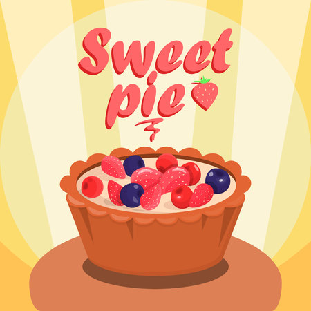Delicious Berry Pie Cartoon Social media Banner. Sweet Baking Illustration with Lettering. Tasty Dessert with Berries Vector Drawing. Confectionery, Pastry Shop, Buffet Flat Color Poster Template Иллюстрация