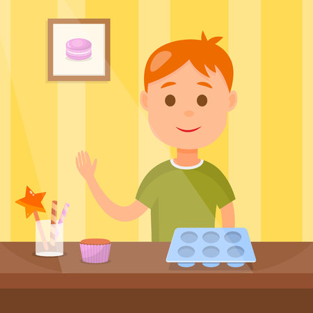 Child cooking Tasty Cupcakes Vector Illustration. Young Confectioner Baking Delicious Desert Cartoon Character. Household Bakery Flat Drawing. Kid taking cooking Class. Confectionery equipment