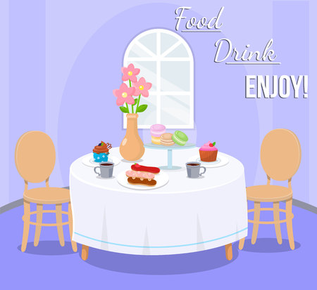 Serviert Tisch mit Desserts Vektor-Illustration. Tisch für zwei Personen mit Süßwaren und Heißgetränken. Cafeteria, Catering Inneneinrichtung. Eclairs, Makronen, Cupcakes, Tee und Blumen in Vase Vektorgrafik