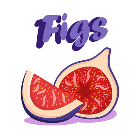 Delicious Ripe Figs Cartoon Social media Banner. Sweet Berry Dessert Vector Drawing with Lettering. Organic Vegetarian Dainty. Juicy Natural Sweets. Healthy Nutrition Flat Poster Template Ilustração