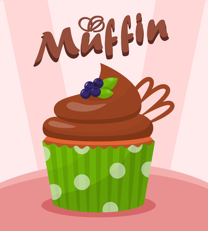 Chocolate Cupcake with Berries Vector Illustration. Tasty Dessert Cartoon Poster with Lettering. Sweet Muffin with Chocolate Glaze. Pastry Shop, Confectionery, Bakery Color Banner Template Illusztráció