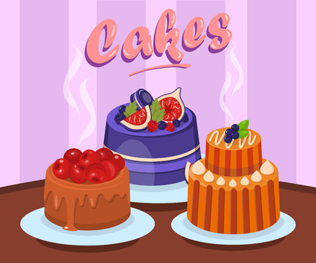 Various Delicious Cakes Flat Vector Illustration. Sweet Dessert Color Cartoon Drawing with Lettering. Tasty Hot Baking with Berries. Pastry Shop, Confectionery, Bakery Web Banner Template