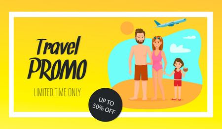 Travel Coupon Vector Banner Template with Text. Summer Vacation Promo, Sale. Family Holiday Flat Drawing. Special Offer. Sea Resort vector Illustration. Cartoon Characters. Air Tickets Discount Stock Illustratie