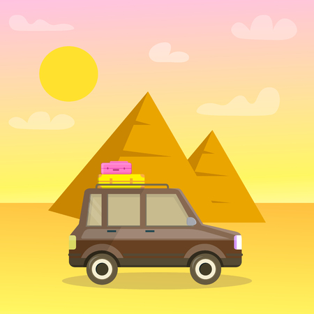 Pyramids of Giza Cartoon Travel Postcard, Poster. Egypt Vector Illustration. Car in Desert Flat Drawing. Archeological Expedition. World Famous Landmark, Tourist Attraction. Vacation, Road Trip