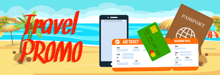 Travel Promo Vector Horizontal Banner with Text. Air Ticket, Smartphone on Tropical Beach Background. Travel Voucher. Exotic Trip Flat Drawing. Tour Operator Advertisement. Special offer, discount Иллюстрация