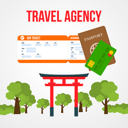 Japan Tour Social Media Post Template with Text. Travel Agency Square Vector Banner. Air Ticket, Passport, Debit Card. Asian Architectural Landmark, Tourist Attraction. Torii Gate Flat Drawing