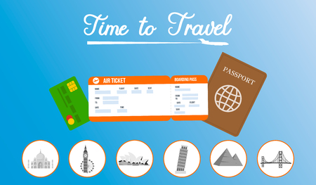 Travel Agency Vector Horizontal Banner Template. Tour Operator Flyer with Lettering. International Airlines. Abroad Trip. Passport, Visa, Debit Card Vector Illustration. Air Ticket Flat Drawing