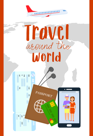 Traveling Abroad Vector Flyer, Poster with Text. Air Ticket, Passport, Visa Flat Illustration. Debit Card, Boarding Pass on Geographical Map Background. Man and Woman Photo on Smartphone Screen