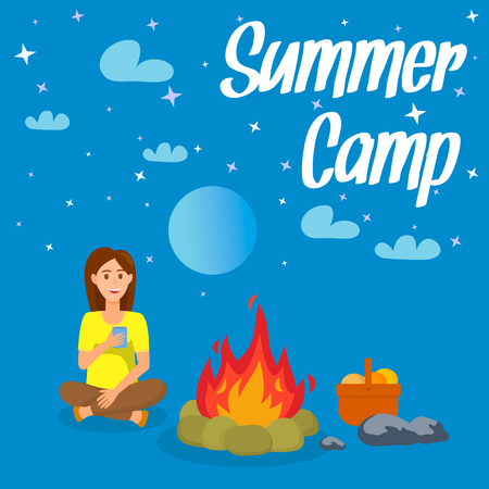 Summer Camp Vector Poster, Flyer with Lettering. Woman Sitting near Bonfire. Picnic Basket Flat Drawing. Stars, Moon at Night Sky. Hiking, Trekking Break. Teenager, Female Cartoon Character